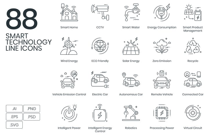 Thumbnail for 88 Smart Technology Line Icons