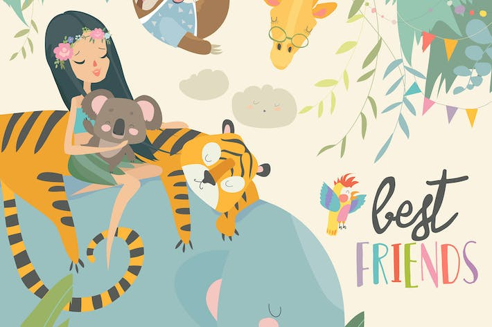 Thumbnail for Pretty girl with cartoon animal. Happy friends. Ve