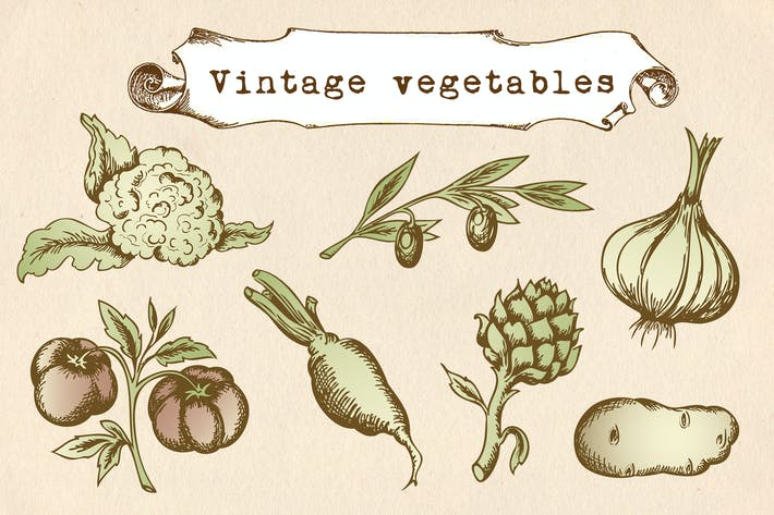 Thumbnail for Vintage Vegetables Set