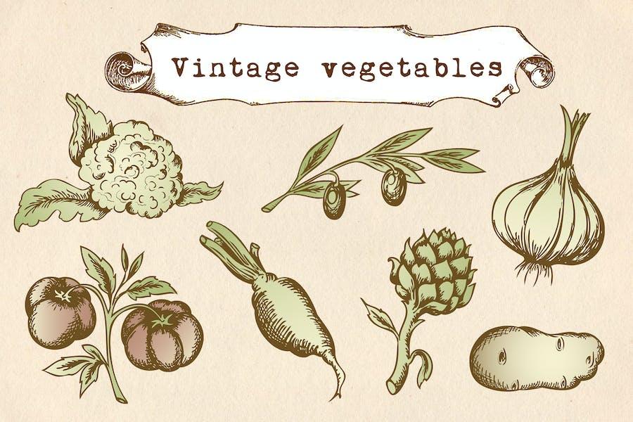 Vintage Vegetables Set