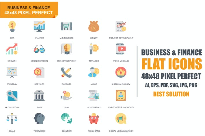 Thumbnail for Íconos planos Negocios y finanzas de Kit Simple