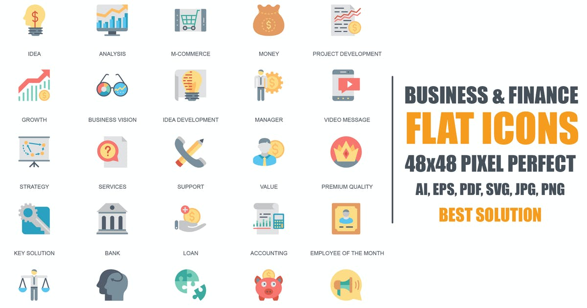 Download Simple Set Business and Finance Flat Icons by alexdndz