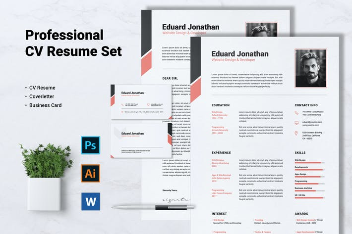 Thumbnail for Professional CV Resume Set Vol. 05