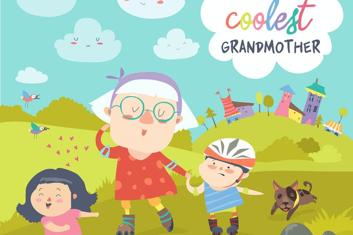 Thumbnail for Grandmother with her happy grandchildren skate