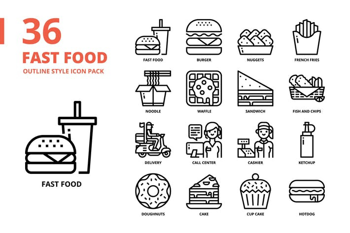 Fast food Outline Style Icon Set