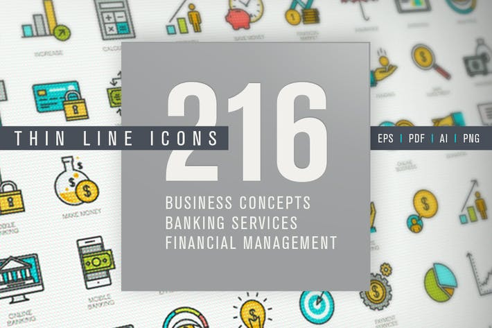 Thumbnail for Set of Thin Line Icons for Finance