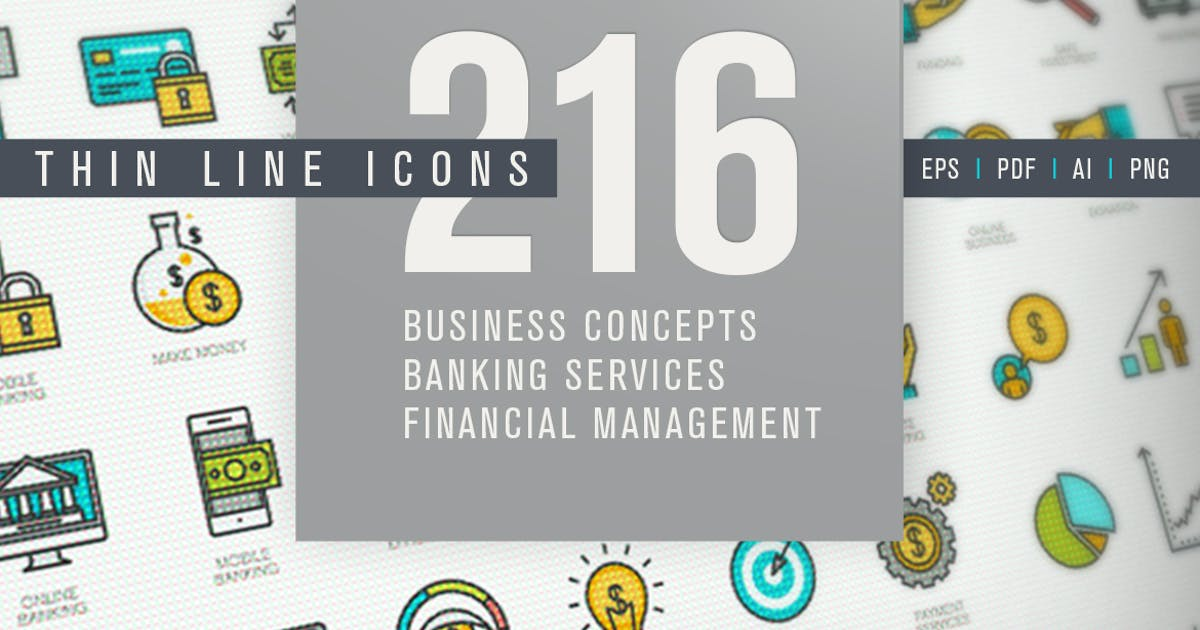 Download Set of Thin Line Icons for Finance by PureSolution