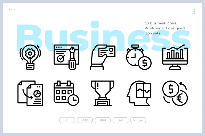 Thumbnail for 30 Business and Startup Icons