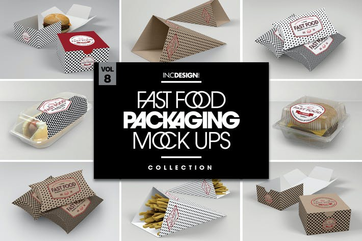 Thumbnail for Fast Food Boxes Vol.8: Take Out Packaging Mockups
