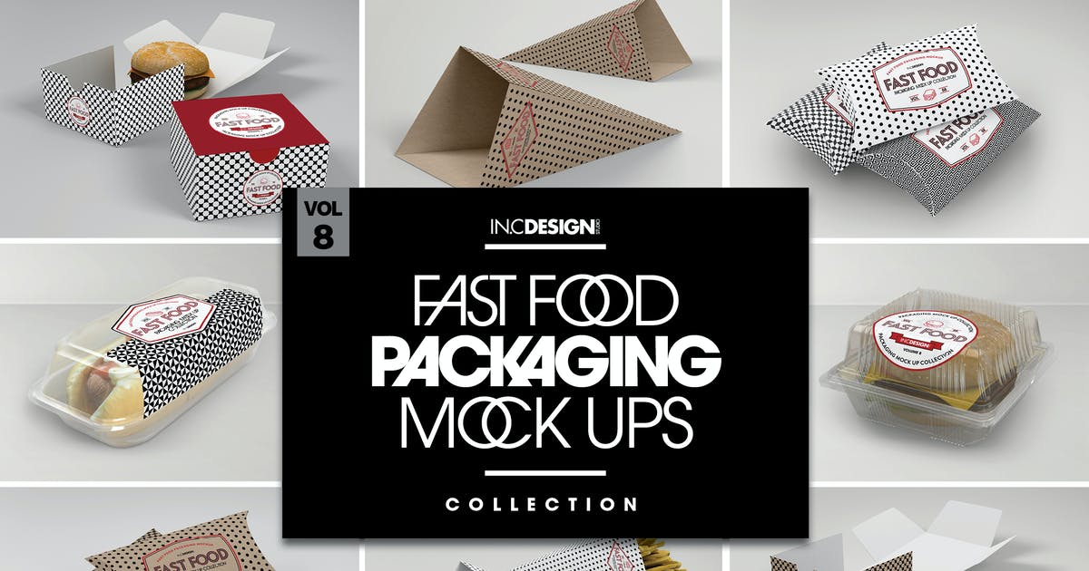 Download Fast Food Boxes Vol.8: Take Out Packaging Mockups by ina717