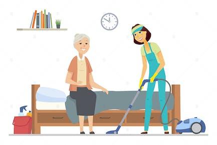 Limpiador ayudando a la mujer mayor - ilustración plana