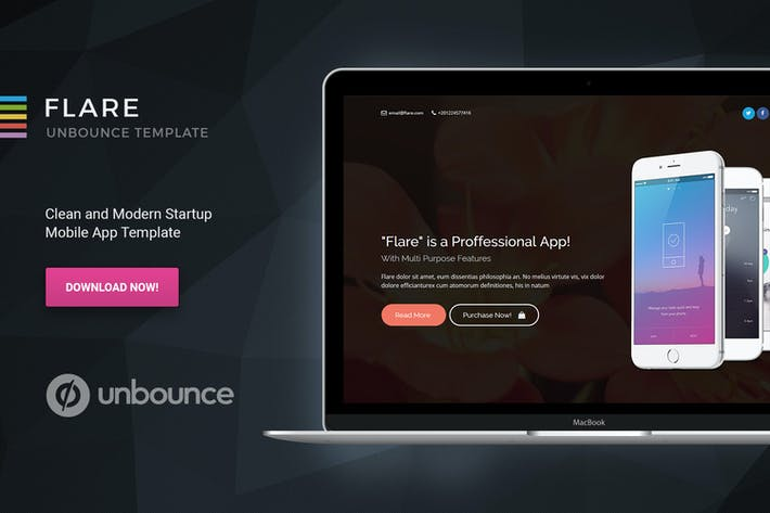 Thumbnail for Flare - Unbounce Startup Landing Page