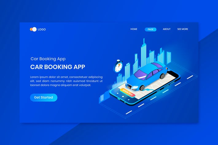 Thumbnail for Car Booking App Concept Landing Page