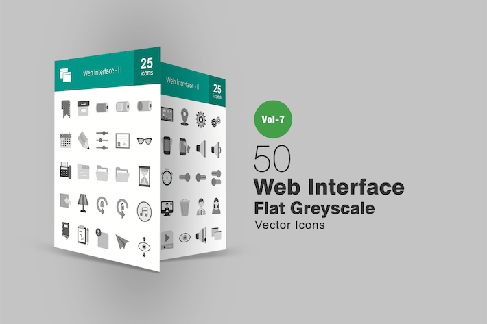 Thumbnail for 50 Web Interface Flat Greyscale Icons