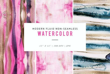 Modern Fluid Non-Seamless Watercolor Patterns