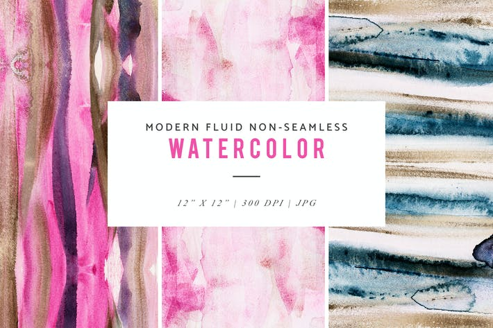 Thumbnail for Modern Fluid Non-Seamless Watercolor Patterns