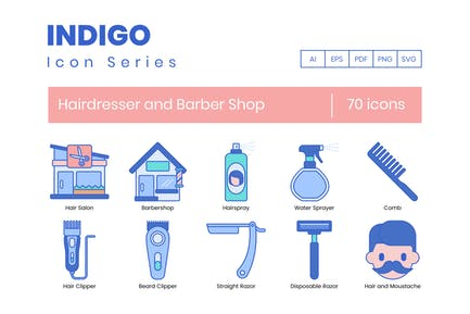 70 Hairdresser and Barber Shop Icons - Indigo