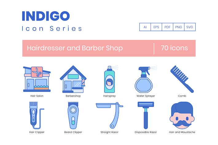 70 Hairdresser and Barber Shop Icons - Indigo