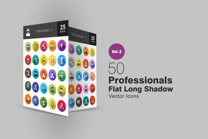 Thumbnail for 50 Professionals Flat Long Shadow Icons