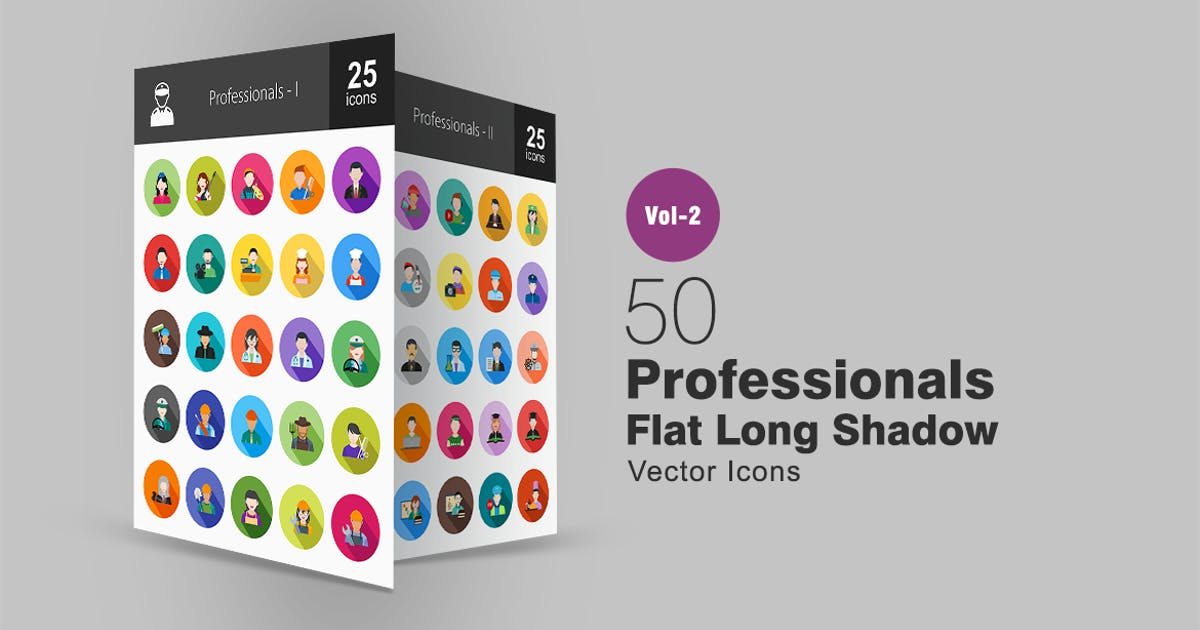 Download 50 Professionals Flat Long Shadow Icons by IconBunny