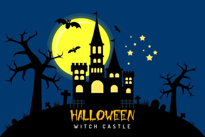 Thumbnail for Halloween Witch Castle - Illustration Background