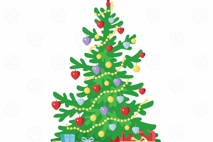 Cover Image For Christmas tree - vector illustration