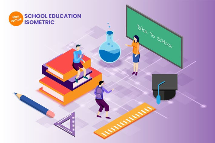 Isometric School Education Vector Illustration