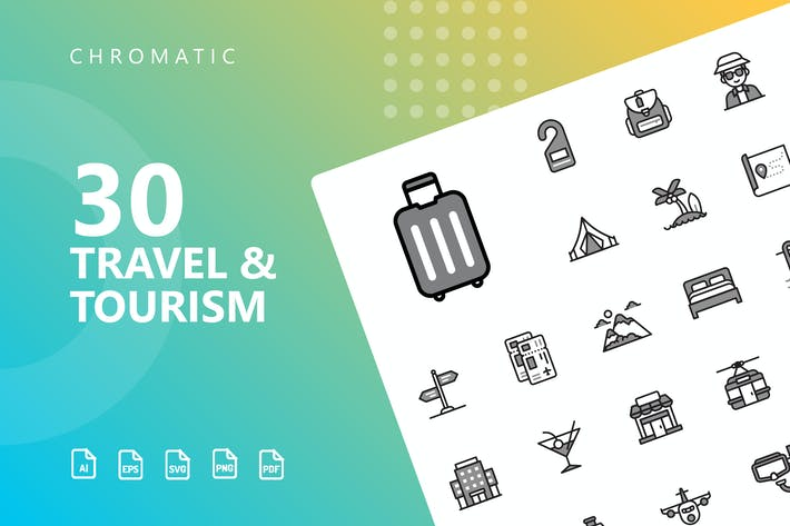 Cover Image For Travel & Tourism Chromatic Icons