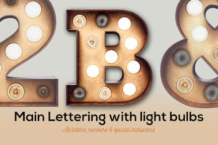 Marquee Light Bulbs Front 1 - Main Font With Bulbs