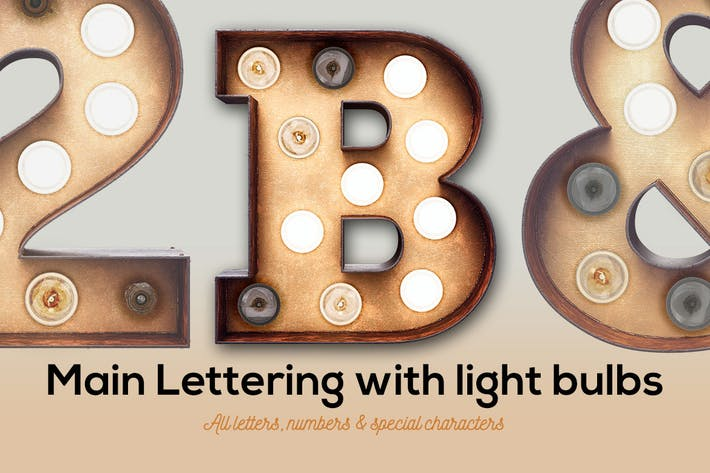 Thumbnail for Marquee Light Bulbs Front 1 - Main Font With Bulbs