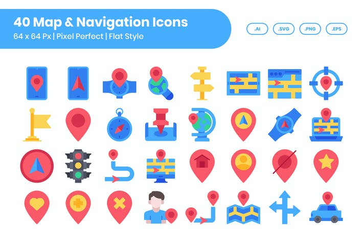 Thumbnail for 40 Набор Иконки карты и навигации - плоский