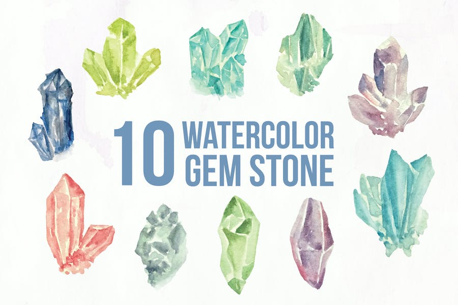 10 watercolor Gem Stone Illustration Graphics