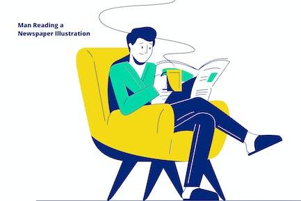 Man Reading a Newspaper Illustration
