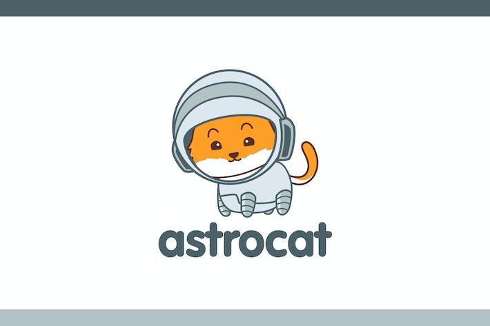 Cartoon Cute Astronaut Cat Mascot Logo