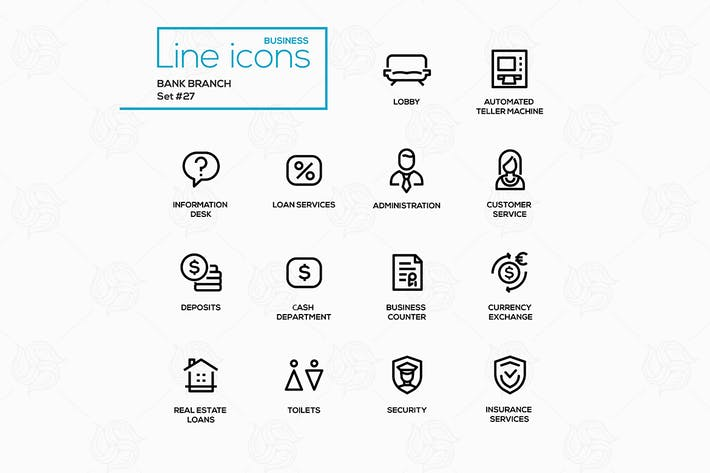 Thumbnail for Bank branch - modern vector single line icons set.