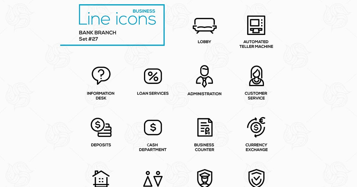 Download Bank branch - modern vector single line icons set. by BoykoPictures