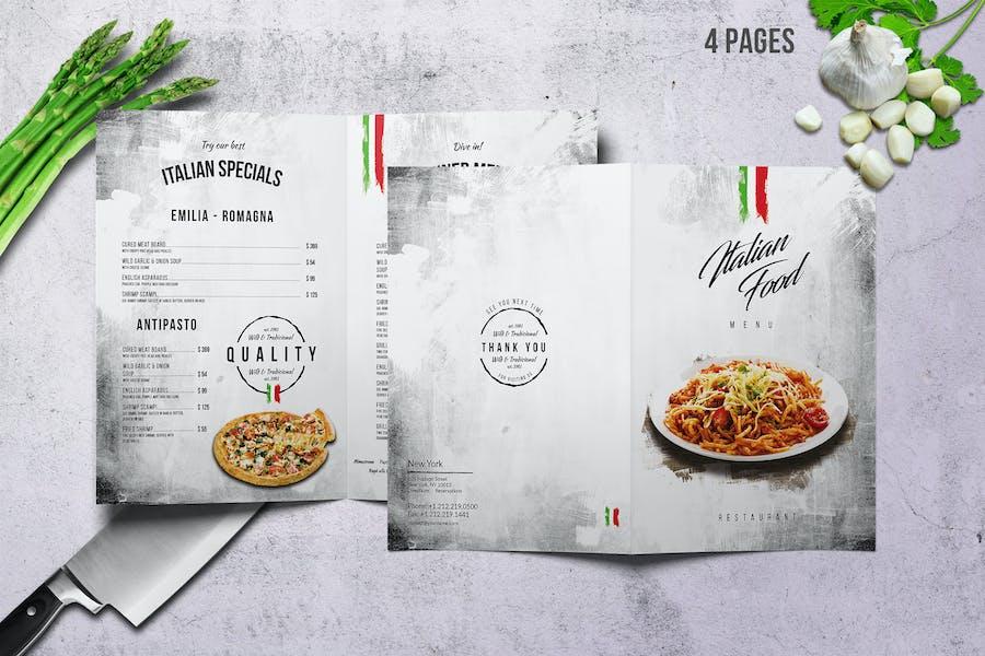 Italian A4 & US Letter Bifold Food Menu V2
