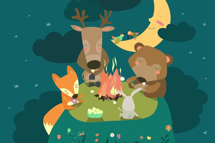 Thumbnail for Cute animals resting around bonfire. Vector