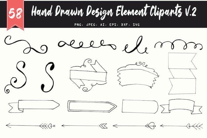 Thumbnail for 50+ Handmade Design Element Cliparts V2