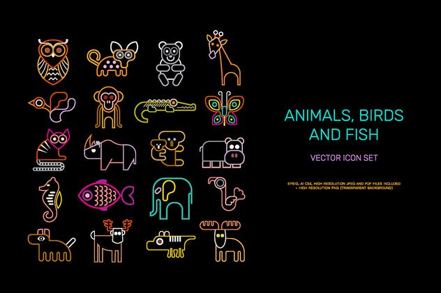 Animal vector icon set (neon colors) - product preview 1