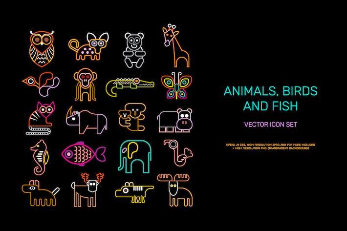 Thumbnail for Animal vector icon set (neon colors)