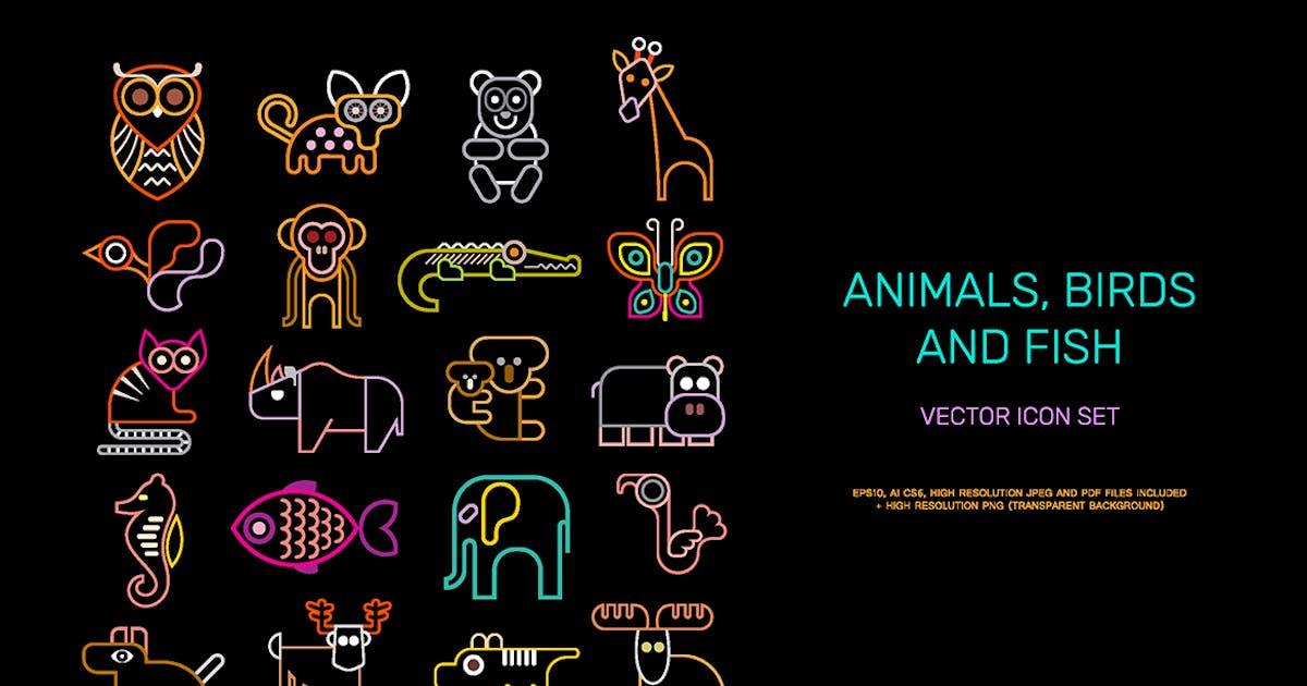 Animal vector icon set (neon colors) by danjazzia