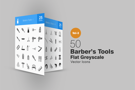 50 Barber's Tools Greyscale Icons