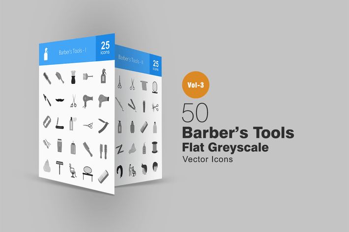 Thumbnail for 50 Barber's Tools Greyscale Icons