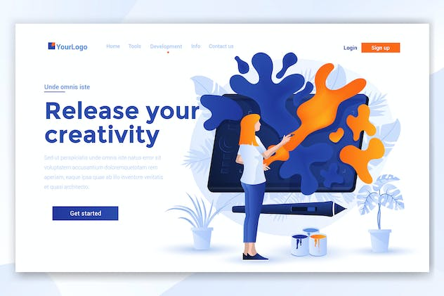 Landing page template of Release your creativity
