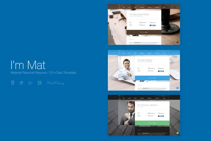 Cover Image For I'm Mat - Material Personal Resume vCard Template