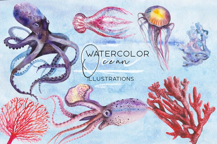 Thumbnail for Watercolor ocean illustrations set