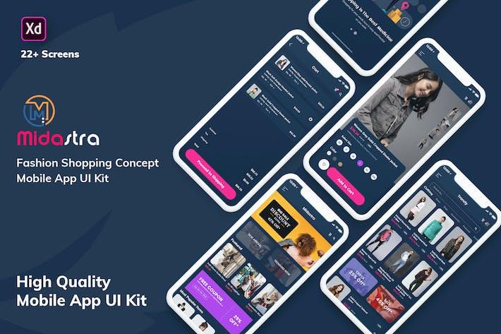 Thumbnail for Midastra-Fashion Shopping MobileApp UI Dark (XD)