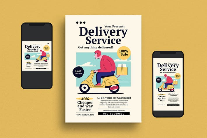 Thumbnail for Food Delivery Service Flyer Set
