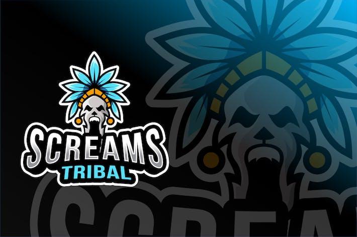 Thumbnail for Tribal Screams Esport Logo Template